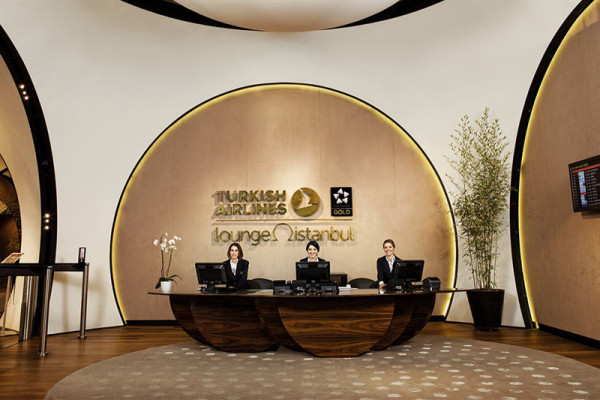 The Turkish Airlines VIP lounge reception at Istanbul Airport