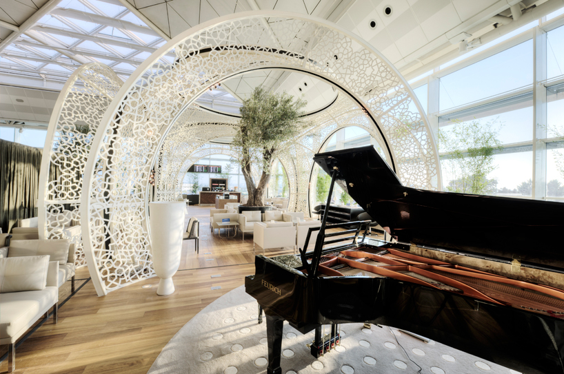 One of the two piano's in the Turkish Airlines VIP Lounge